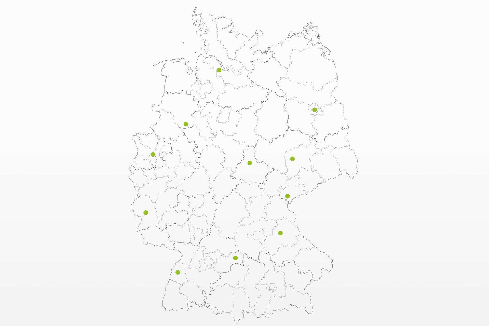 Deutschlandweite Servicestandorte sind auf einer Karte eingezeichnet
